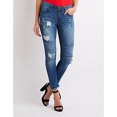 Machine Jeans Destroyed Moto Skinny Jeans