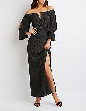 Off-The-Shoulder Polka Dot Maxi Dress