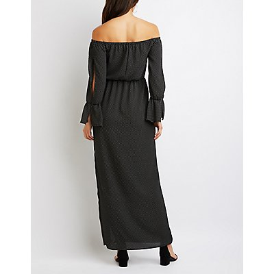 Off-The-Shoulder Polka Dot Maxi Dress