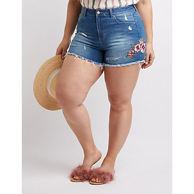 Plus Size Floral Denim Shorts