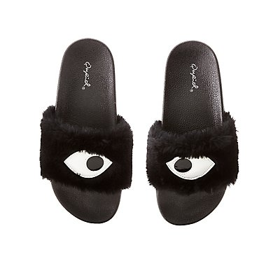 Qupid Faux Eye Slide Sandals