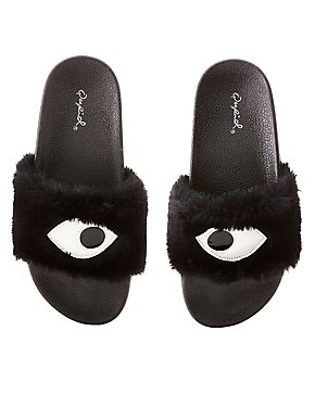 Qupid Faux Eye Slide Sandals