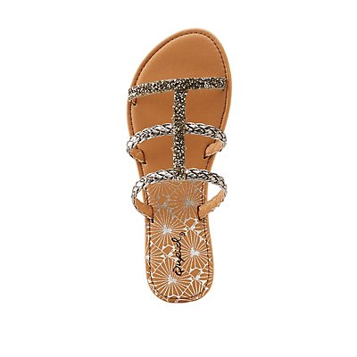 Qupid Braided Three-Piece Sandals