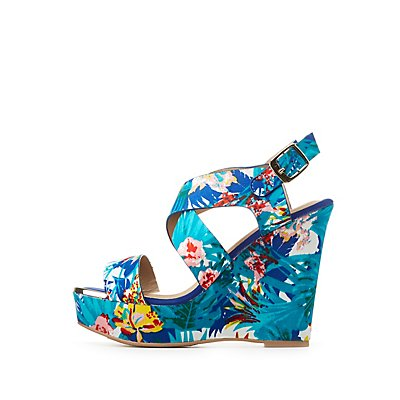 Qupid Printed Wedge Sandals