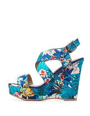 Qupid Printed Wedge Sandals