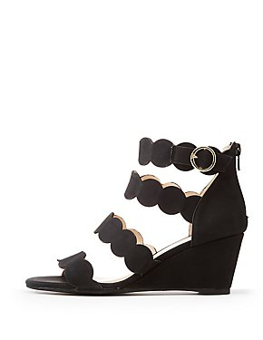 Qupid Four Band Scallop Wedge Sandals
