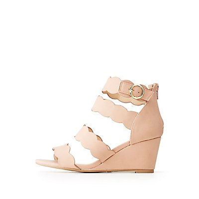 Qupid Scallop Wedge Sandals