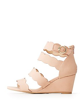 Qupid Scallop Wedge Sandals