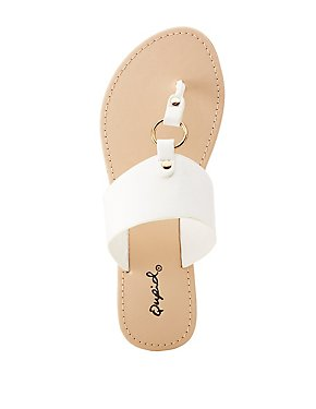 Qupid Faux Leather T-Strap Sandal