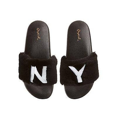 Qupid NY Faux Fur Slide Sandals