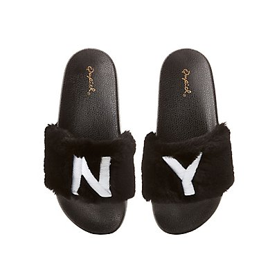 Qupid NY Faux Fur Slide Sandals