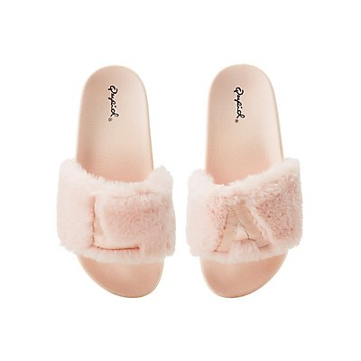 Qupid La Faux Fur Slide Sandals by Charlotte Russe