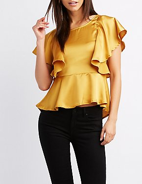 Ruffle-Trim Peplum Top