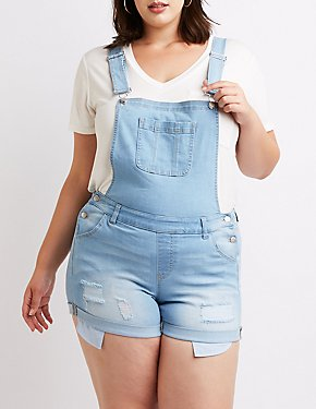 Plus Size Destroyed Button-Up Overalls