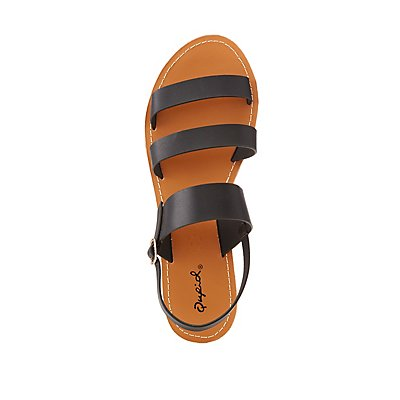 Qupid Triple Band Flat Sandals