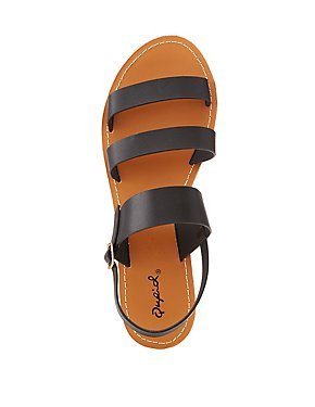 Qupid Faux Leather Three-Piece Sandals