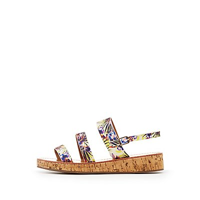 Qupid Three-Piece Cork Sandals