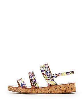 Qupid Three-Piece Cork Sandals