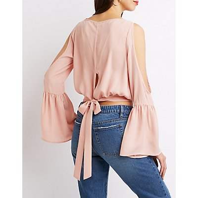 Cold Shoulder Bell Sleeve Crop Top