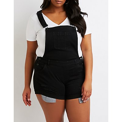 Plus Size Destroyed Overalls