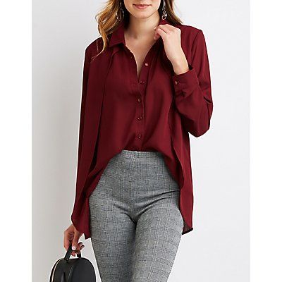 High-Low Button-Up Shirt