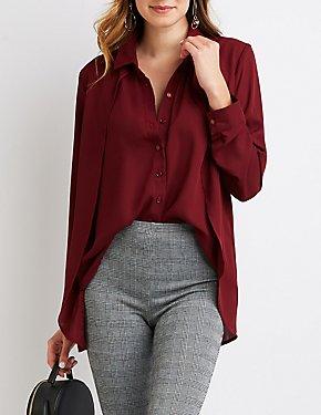 High-Low Button-Up Shirt