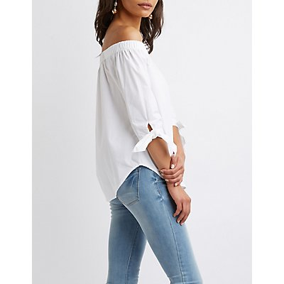Off-the-Shoulder Bow-Detailed Top