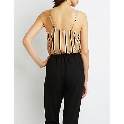 Striped Surplice Bodysuit