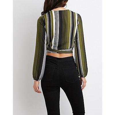 Striped Wrap-Tie Crop Top
