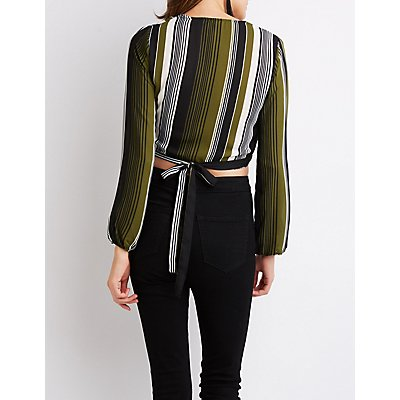Striped Wrap-Tie Crop Top