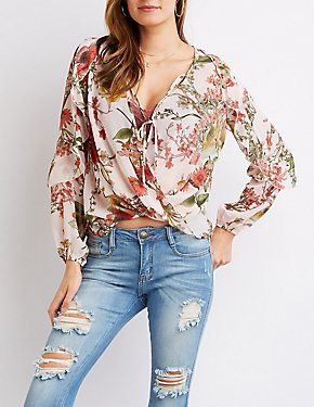 Floral Sheer Wrap Top