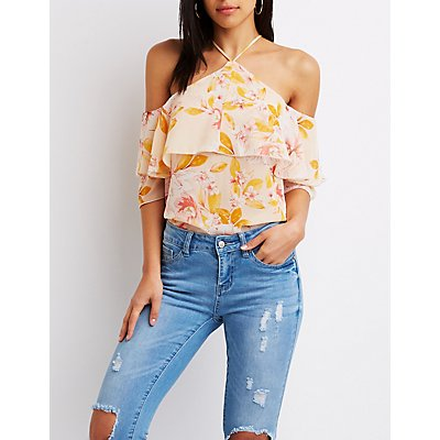 Ruffle-Trimmed Floral Cold-Shoulder Top