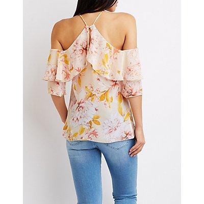 Ruffle-Trimmed Floral Cold-Shoulder Top