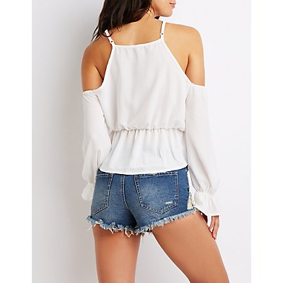 Cold Shoulder Crochet-Trim Top
