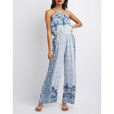 Printed Bib Neck Jumpsuit
