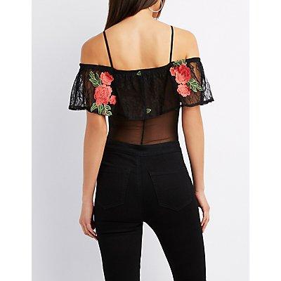Floral Embroidered Cold Shoulder Bodysuit