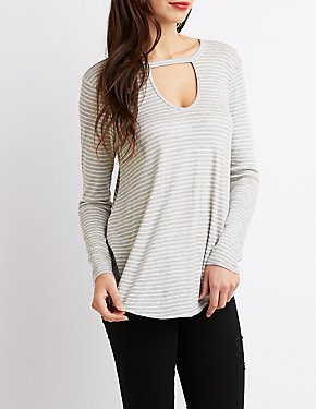 Striped Cut-Out Top