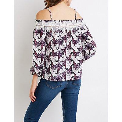 Lace-Trimmed Cold Shoulder Top