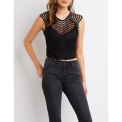 Crew Neck Open-Back Lace Top