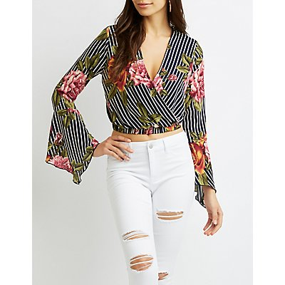 Faux Wrap Bell Sleeve Crop Top