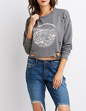 California Graphic Distressed Sweatshirt