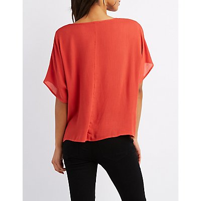 Twist-Front High-Low Top