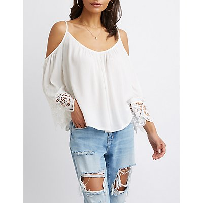 Crochet-Trimmed Cold-Shoulder Top