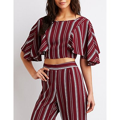 Striped Kimono Sleeve Crop Top