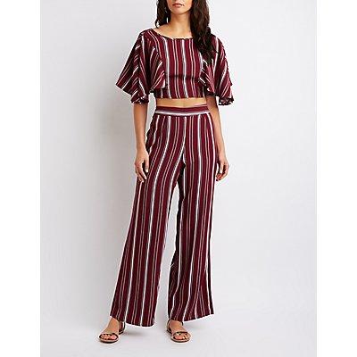 Striped Kimono Sleeve Crop Top