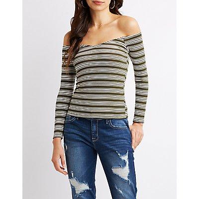 Striped Off-The-Shoulder Crop Top