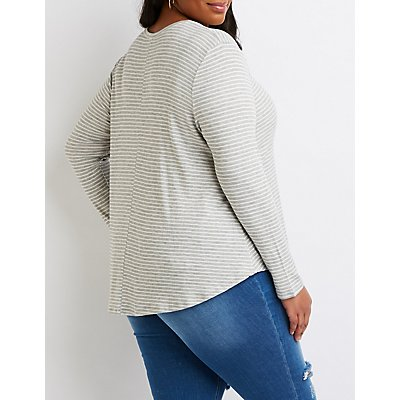 Plus Size Striped Cut-Out Top