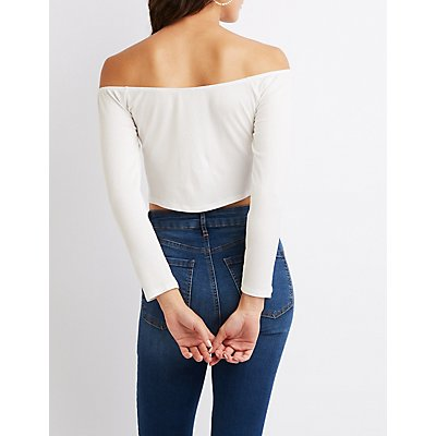 Ribbed Off-The-Shoulder Button-Up Top
