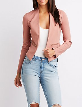 Ponte Collarless Cropped Blazer
