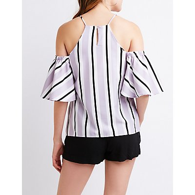 Striped Bib Neck Cold Shoulder Top